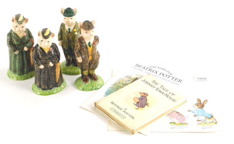 Four Beswick figurines, Lady Pig, Lady Pig (Limited edition number 1587), Gentleman Pig and
