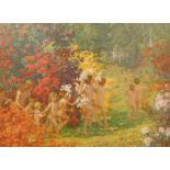 Arthur John Black (1855-1936). Nude children frolicking in a forest, artist signed print, signed