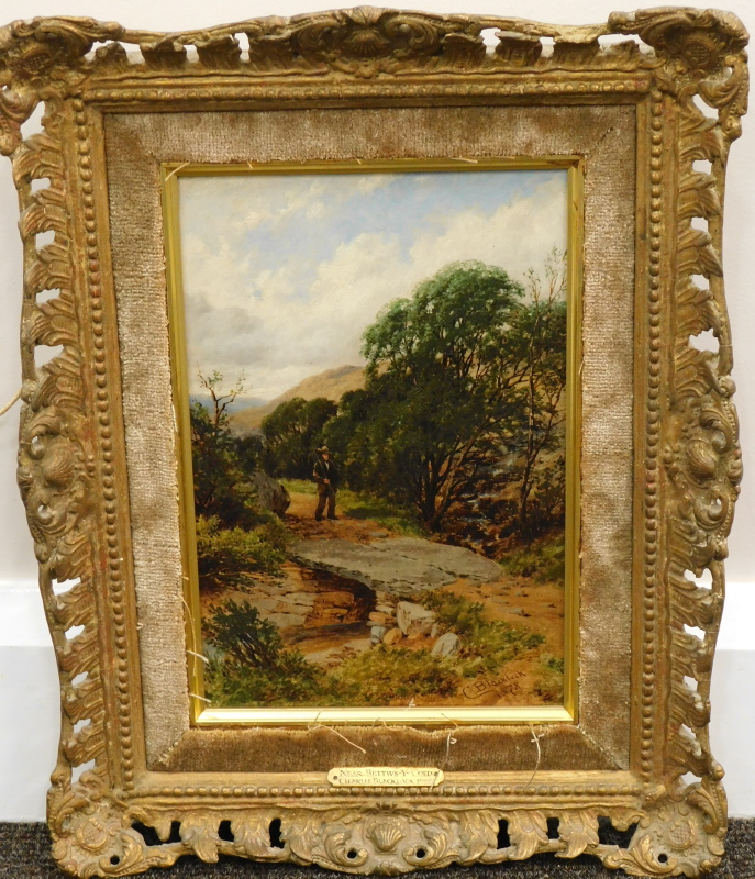 Charles Blacklock (1878-c.1893). Landscape with fisherman approaching a river crossing, titled Nr - Image 2 of 4