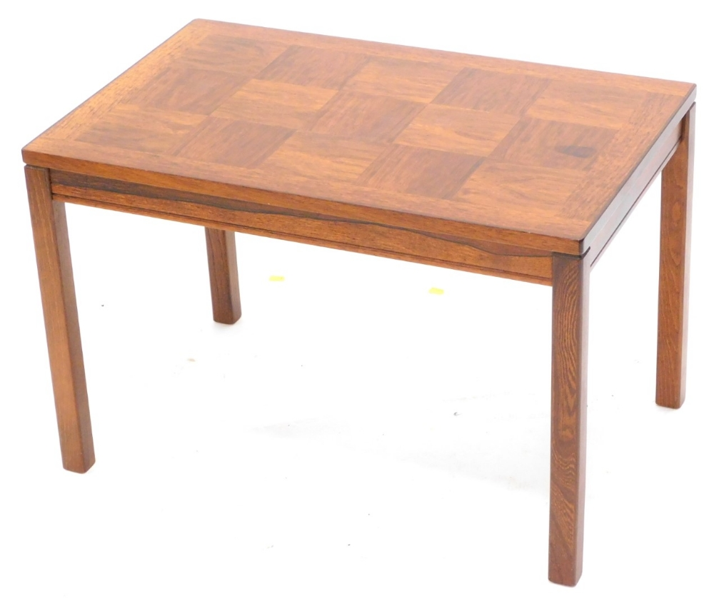 A Norwegian teak rectangular coffee table, with a design of square within a cross banded border,