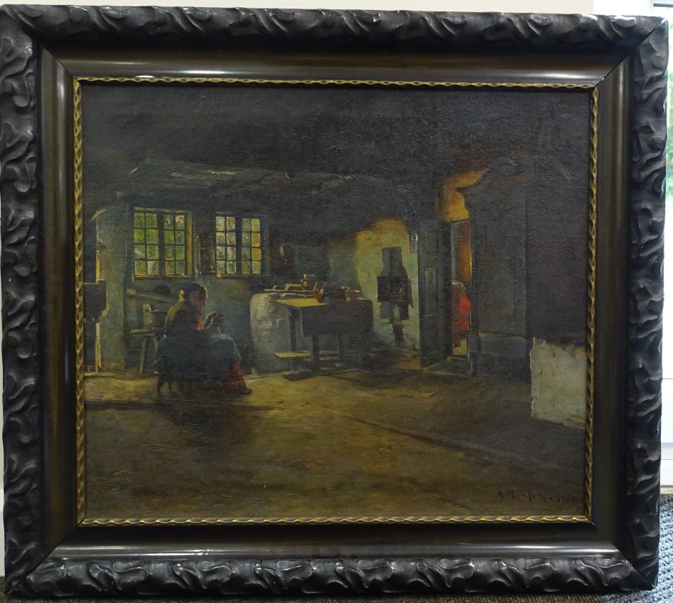 Anders Montan (1845-1917). Old lady in cottage interior, oil on canvas, signed and dated 1912, 56. - Image 2 of 4