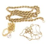 A group of 9ct gold and other pendants and chains, to include a 9ct gold fine box link chain, 43cm