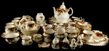 A large collection of Royal Albert Old Country Roses pattern porcelain, to include two teapots,