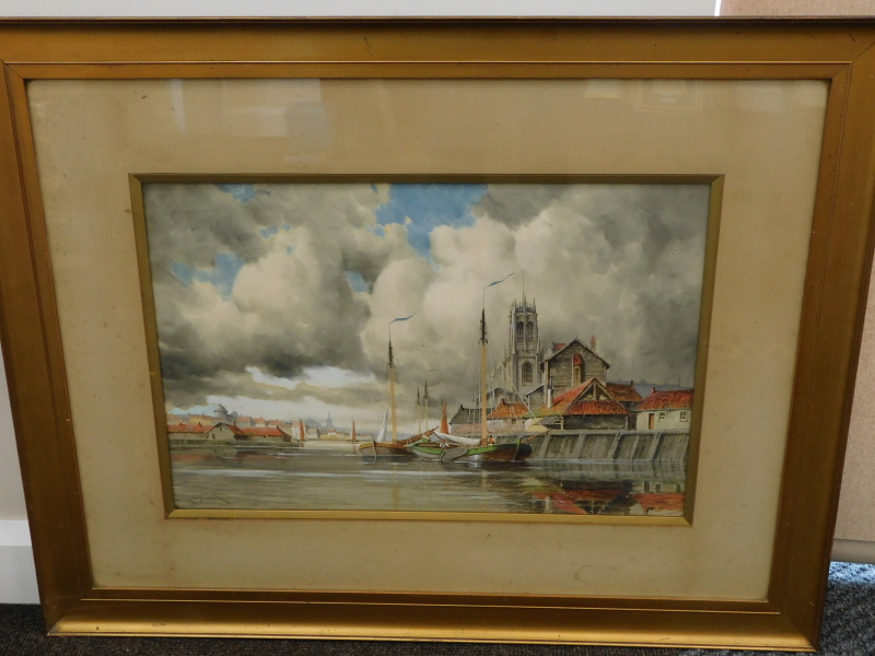 Louis van Staaten (1836-1909). Dutch townscape and boats drying sails before spire and buildings, - Image 2 of 4