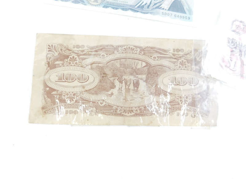 Two Bank of England £5 notes, Chief Cashier Gill, A Japanese Government 100 dollar note, and various - Image 3 of 3