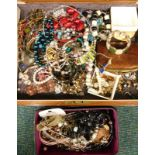 Costume jewellery, to include bangles, necklaces, drop earrings, bracelets, in a stained pine box.