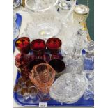 Glassware, to include a cut glass decanter, lidded bon bon dish, cranberry glass drinking glasses,