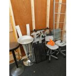 A collection of furniture, to include two bar type stools, office chairs, single bed frame, fire