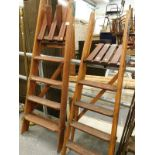 Two sets of wooden steps.