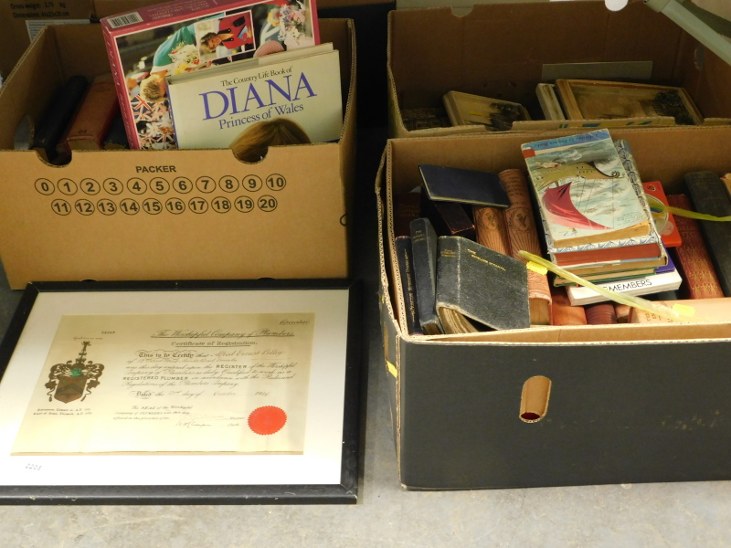 Various books, to include Country Life book of Diana Princess of Wales, Methodist Hymn book, picture