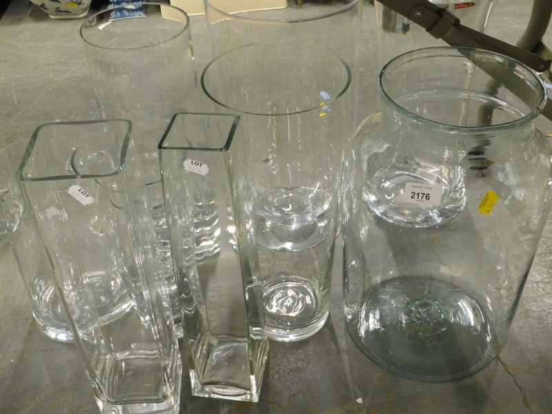 Various large glass vases.