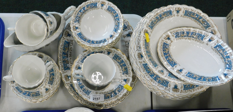 A Myott Rialto part tea and dinner service, to include teacups and saucers, gravy boat, dinner