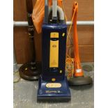 A Flymo mini trim, and a Sebo upright vacuum cleaner, X4 extra, and an oak standard lamp.