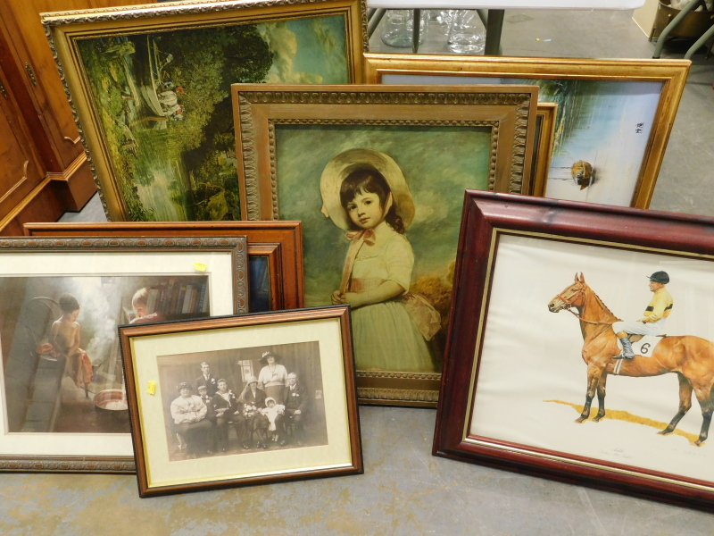 Various pictures, prints, etc., to include print of a jockey, print of a young girl in rural
