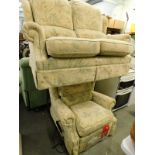 A G-plan two seater sofa, and associated electric reclining armchair, on a beige ground, decorated