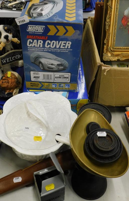 A Maypole breathable car cover, a Flash Car Wash home car wash system, set of scales, etc. (a