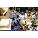 Various drinking glass, decorative china and effects, etc., to include cabinet plates, bisque