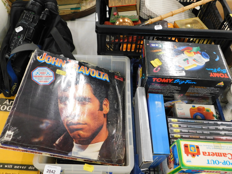 A Sony Handicam, in case, various editions of Arthur Mee's 1000 hero's, LP records, DVDs, child's