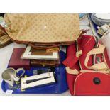Various travel cases, a pewter tankard inscribed 'Happy 70th Birthday Grandad,' corkscrew set, cased