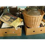 General household effects, to include Christmas decorations, wicker bicycle basket, Matchbuilder
