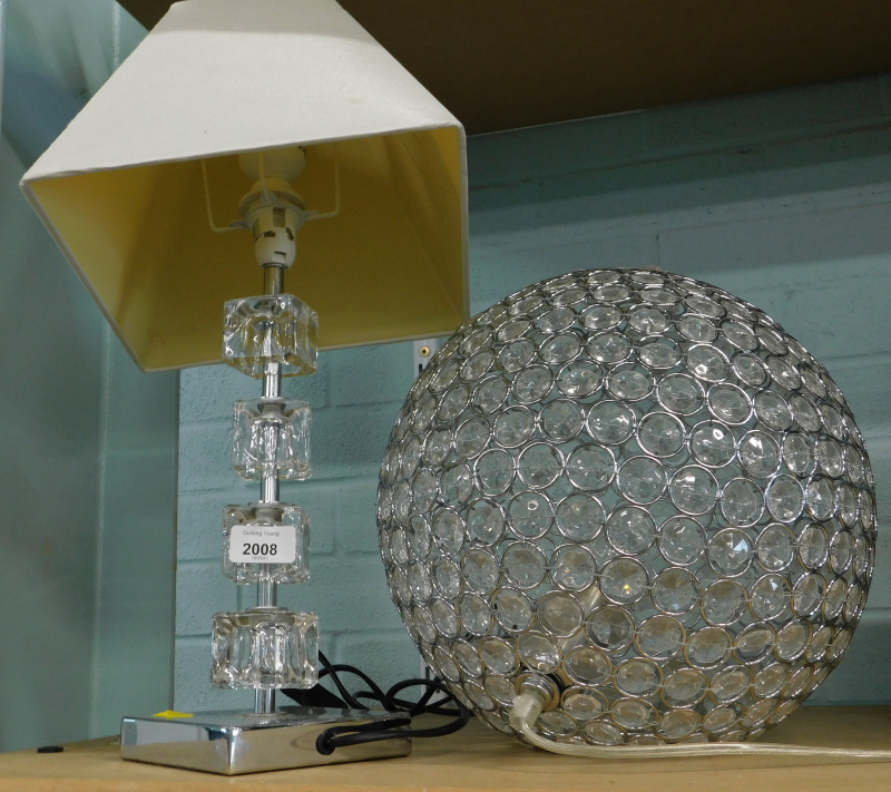Two table lamps, one with glass stem. (2).