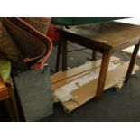 Three machine woven rugs, an oak extending dining table, various laminated floor panels, etc. (a