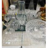 Glassware, to include a decanter, drinking glasses, pedestal bowl, long stem vase, jug, dressing