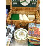 An Antler wicker picnic hamper and contents, a quantity of Royal Grafton commemorative Twelve Days