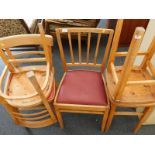 A quantity of kitchen chairs, and stools, the chairs with red leatherette seats, etc. The upholstery