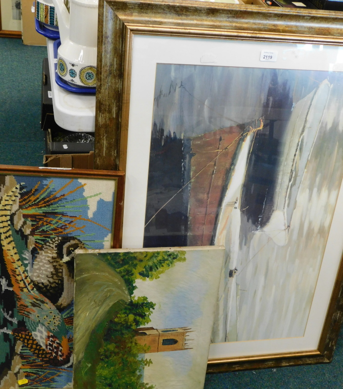 A framed boating print, a late 19thC oil on canvas church scene, etc. (a quantity)