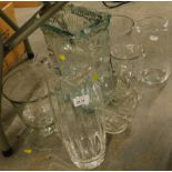 Various large glass vases, jugs, etc.
