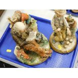 Three Capodimonte figures, to include an old man sat on a bench reading, an old man playing bowls,