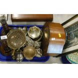 An oak cased mantel clock, a pair of oak candlesticks, various plated wares, picture, (1 tray and