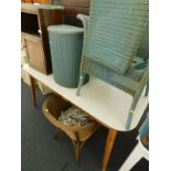 A collection of furniture, to include various Lloyd Loom style tub chairs, a Lloyd Loom laundry