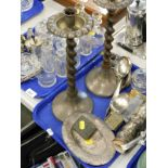 Glassware, to include lidded jars, perfume bottles, hammered pewter part service to include tray,