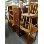A collection of furniture, to include a pine open bookcase, low sideboard, two chairs, two tier