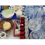 Glassware, to include drinking glasses, a boxed set of six Elysee wine glasses, mottled glass