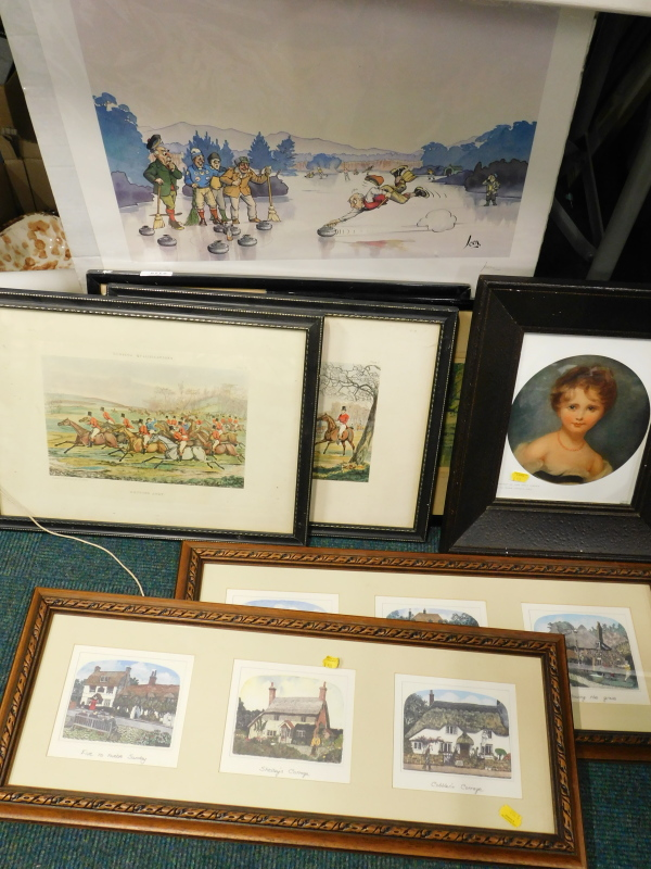 Various pictures, prints, etc., to include Thomas Lawrence print portrait of Lady Emily Cowper,