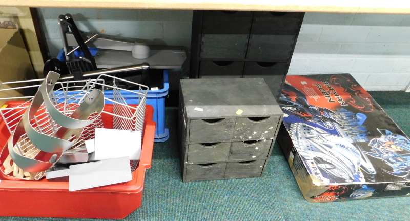 A Batman and Robin electric track, boxed, CD racks, wooden multi drawer compartments, etc. (a
