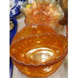 A collection of carnival glass, to include various fluted edge bowls, etc., (a quantity).