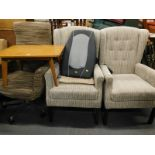 A pair of The Morris Furniture Group wingback armchairs, a swivel office type chair, and a light oak