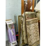 A pine framed rectangular wall mirror, a retro style floor lamp, various rugs, mirrors, hedge