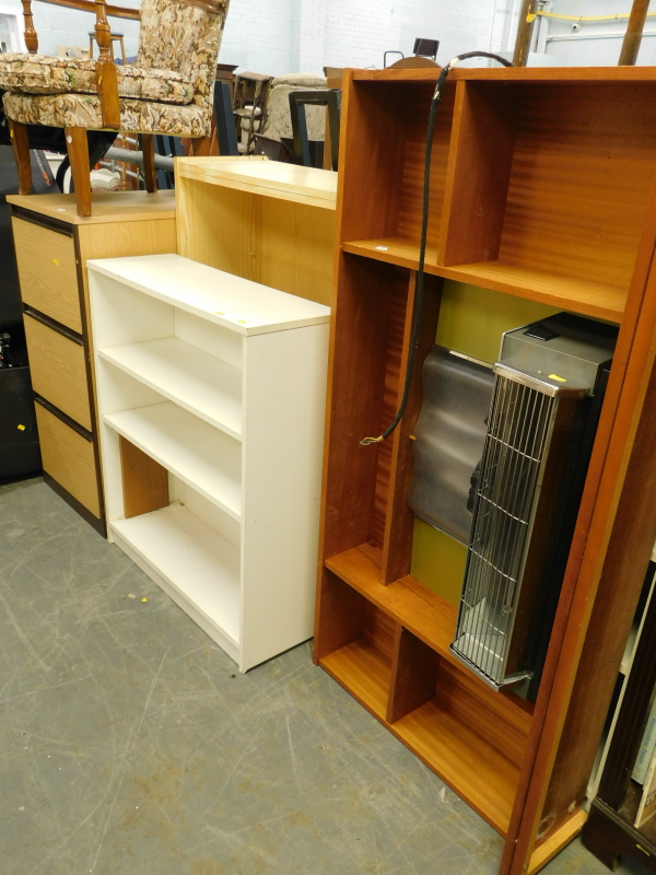 A collection of furniture, to include an electric fire, free standing bookcases, filing cabinet,