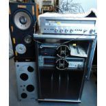 A Leak 3200 AM/FM stereo receiver, a Hitachi tape player, pair of RL400X three way speakers, and a