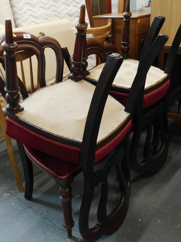A set of four Victorian mahogany balloon dining chairs, each with a lobed back, a padded seat on
