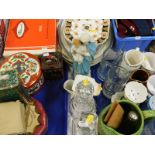 Decorative china and effects, etc., to include shaving mugs, decanters, figure group of Mary and