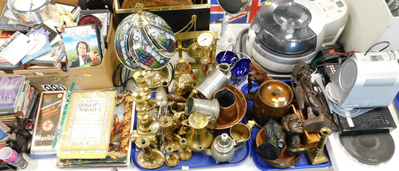General household effects, to include CDs, DVDs, brass candlesticks, treen, loose flatware, table