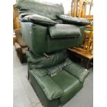 Two World of Leather green leather armchairs.