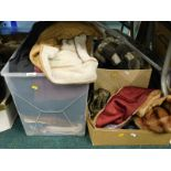 A quantity of ladies clothing, to include coats, jackets, fur stole, ladies handbags, etc. (3 boxes)