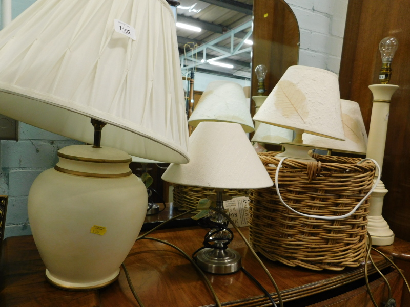 A quantity of table lamps, wicker basket, etc. (a quantity)